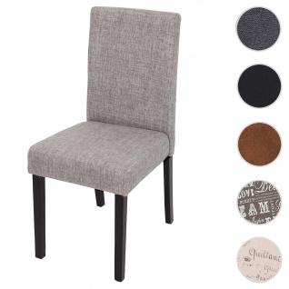 Esszimmerstuhl Littau, Küchenstuhl Stuhl, Stoff/Textil ~ grau, dunkle Beine