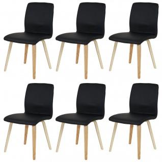 6x Esszimmerstuhl Bendorf, Retro, helle Beine Kunstleder, schwarz