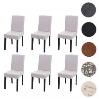 6x Esszimmerstuhl Stuhl Küchenstuhl Littau ~ Textil, creme-beige, dunkle Beine