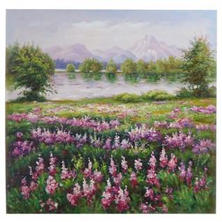 Ölgemälde Blumenwiese, 100% handgemaltes Wandbild XL, 80x80cm - Vorschau 1