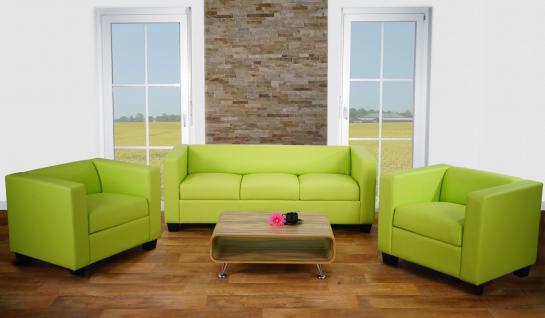 3-1-1 Sofagarnitur Couchgarnitur Loungesofa Lille ~ Kunstleder, hellgrün