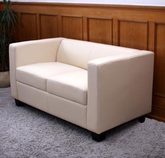 2er Sofa Couch Loungesofa Lille, Textilleder creme