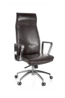 Bürostuhl A031, Chefsessel Drehstuhl, Leder mit 5-Stufen Synchronmechanik