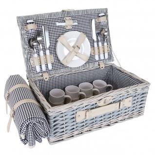 Picknickkorb-Set HWC-B24 für 4 Personen, Weiden-Korb, Porzellan Edelstahl, schwarz-weiß