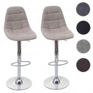 2x Barhocker HWC-A67, Barstuhl Tresenhocker ~ creme-grau, Textil