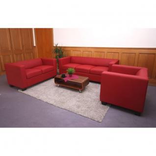3-2-1 Sofagarnitur Couchgarnitur Loungesofa Lille ~ Leder, rot