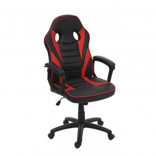 Bürostuhl HWC-F59, Schreibtischstuhl Drehstuhl Racing-Chair Gaming-Chair, Kunstleder ~ schwarz/rot - Vorschau 2