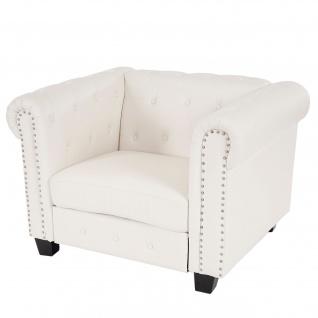 Luxus Loungesessel Chesterfield ~ eckige Füße, weiß
