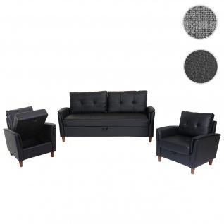 3-1-1 Couchgarnitur HWC-H23, 3er Sofa Sofagarnitur Loungesessel Relaxsessel, Gastronomie Staufach ~ Kunstleder, schwarz