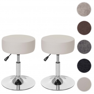 2x Hocker HWC-C22, Sitzhocker Schminkhocker, höhenverstellbar Ø 35cm ~ Kunstleder, creme