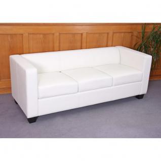 3er Sofa Couch Loungesofa Lille, Kunstleder ~ weiß