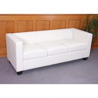 3er Sofa Couch Loungesofa Lille, Kunstleder weiß
