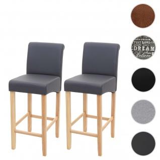 2x Barhocker HWC-C33, Barstuhl Tresenhocker, Holz ~ grau matt, helle Beine, Kunstleder
