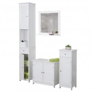Badezimmerset HWC-F75, Badmöbel-Set Hochschrank Waschbeckenunterschrank Kommode Wandspiegel, Landhaus weiß - Vorschau 1