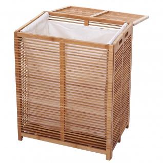 Wäschetruhe HWC-B18, Wäschebox Wäschekorb Wäschesammler, Bambus 61x50x35cm