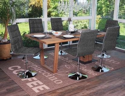 6x Esszimmerstuhl HWC-C41, Stuhl Küchenstuhl, Stoff/Textil hellgrau - Vorschau 2