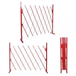 Absperrgitter HWC-B34, Scherengitter Zaun Schutzgitter ausziehbar, Alu rot-weiß ~ Höhe 153cm, Breite 28-200cm