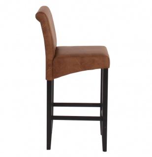 2x Barhocker HWC-C33, Barstuhl Tresenhocker, Holz ~ Wildlederimitat, dunkle Beine, Stoff/Textil - Vorschau 4
