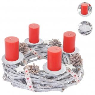 Adventskranz rund, Weihnachtsdeko Tischkranz, Holz Ø 30cm weiß-grau ~ mit Kerzen, rot