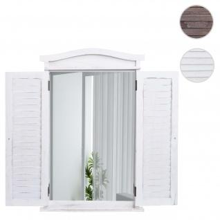 Wandspiegel Badspiegel Badezimmer Spiegelfenster mit Fensterläden, 71x46x5cm ~ shabby weiß
