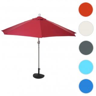 Sonnenschirm halbrund Parla, Halbschirm Balkonschirm, UV 50+ Polyester/Stahl 3kg ~ 270cm bordeaux mit Ständer