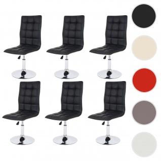 6x Esszimmerstuhl HWC-C41, Stuhl Küchenstuhl, höhenverstellbar drehbar, Kunstleder ~ schwarz