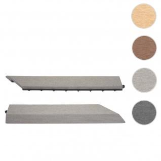 2x Abschlussleiste für WPC Bodenfliese Rhone, Abschlussprofil, Holzoptik Balkon/Terrasse ~ grau rechts ohne Haken