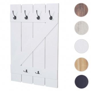 Wandgarderobe HWC-D13, Garderobe Garderobenpaneel, 6 Haken 91x60cm ~ weiß lackiert