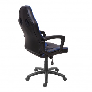 Bürostuhl HWC-F59, Schreibtischstuhl Drehstuhl Racing-Chair Gaming-Chair, Kunstleder ~ schwarz/blau - Vorschau 4