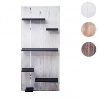 Wandregal HWC-C65, Wandpaneel Holzregal Regal, 6 Ebenen 110x50x14cm Massivholz Vintage ~ weiß/dunkelgrau shabby