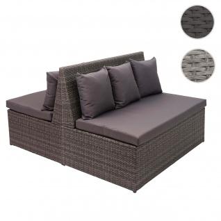 2x Poly-Rattan 2er Sofa HWC-G16, Lounge-Gartenbank Sitzbank Sessel, Gastronomie 120cm ~ grau, Kissen dunkelgrau