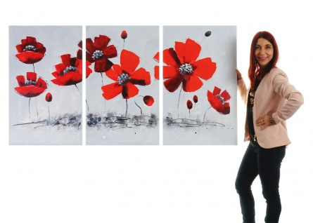 Ölgemälde Mohnblume, 100% handgemaltes Wandbild XL, 165x90cm - Vorschau 2