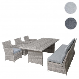 Poly-Rattan Sitzgruppe HWC-G59, Gartengarnitur Sofa Lounge-Set, 200x100cm ~ grau, Kissen hellgrau