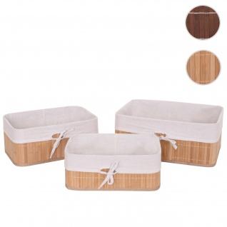 3er Set Aufbewahrungskorb HWC-C21, Korb Aufbewahrungsbox Ordnungsbox Sortierbox Regalkorb, Bambus ~ naturfarben