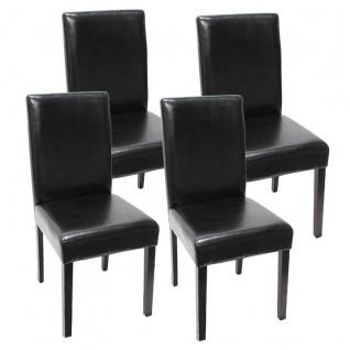 4x Esszimmerstuhl Stuhl Küchenstuhl Littau ~ Kunstleder, schwarz dunkle Beine