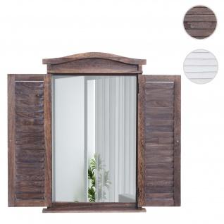 Wandspiegel Badspiegel Badezimmer Spiegelfenster mit Fensterläden, 71x46x5cm ~ shabby braun - Vorschau 1