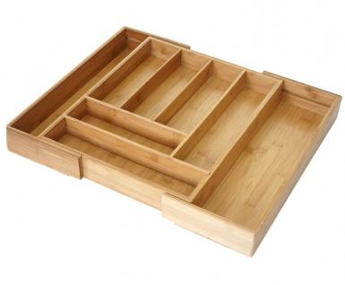 Besteckkasten + Salatbesteck HWC-B20, Schubladeneinsatz Geschirrkasten Servierbesteck Küchenzubehör, Bambus - Vorschau 4