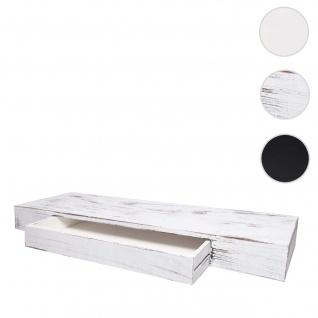 Wandregal HWC-H37, Schweberegal Wandboard Hängeregal Regal, Schublade Massiv-Holz 8x80x25cm ~ weiß, shabby