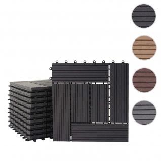WPC Bodenfliese Rhone, Holzoptik Balkon/Terrasse, 11x je 30x30cm = 1qm ~ Premium, anthrazit versetzt