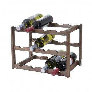 Weinregal HWC-B58, Flaschenregal Weinständer Weinhalter, Tanne 3 Böden ~ 1 Stück