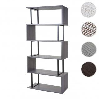 Bücherregal HWC-A27, Standregal Wohnregal, 183x80cm 3D-Struktur 5 Ebenen ~ grau, Metall schwarz
