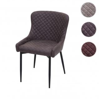 Esszimmerstuhl HWC-H79, Küchenstuhl Lehnstuhl Stuhl, Vintage Metall ~ Stoff/Textil dunkelgrau