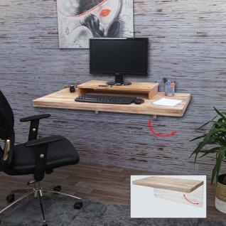 Wandtisch HWC-H48, Wandklapptisch Wandregal Tisch, klappbar Massiv-Holz ~ 120x60cm naturfarben - Vorschau 2