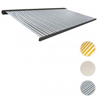 Elektrische Kassettenmarkise T122, Markise Vollkassette 4x3m ~ Polyester Grau/Weiß, Rahmen anthrazit