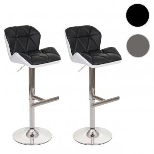 2x Barhocker HWC-A92, Barstuhl Tresenhocker, höhenverstellbar Kunstleder ~ schwarz, Fuß gebürstet