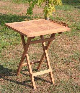 Klapptisch LD12, Gartentisch Massivholztisch, Teakholz 75x70x70cm