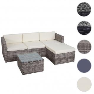 Poly-Rattan-Garnitur HWC-D28, Gartengarnitur Sofa Set ~ grau, Polster creme ohne Deko-Kissen/Abdeckung