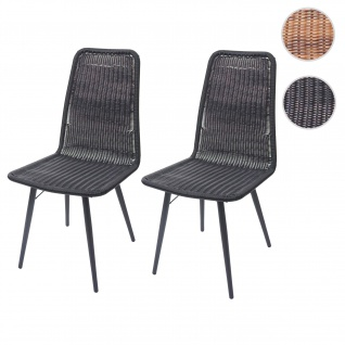 2x Poly-Rattan Stuhl HWC-F90, Rattanstuhl Gartenstuhl, Metallgestell ~ schwarz