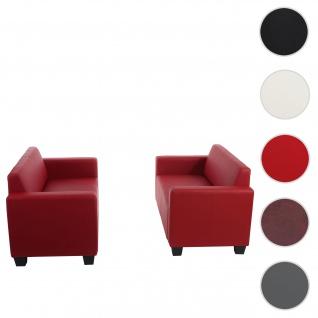 Sofa-Garnitur Couch-Garnitur 2x 2er Sofa Lyon Kunstleder ~ rot
