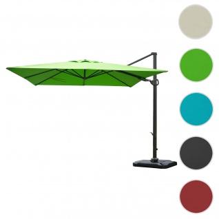 Gastronomie-Ampelschirm HWC-A39, 3x3m (Ø4, 24m) schwenkbar drehbar, Polyester/Alu 31kg ~ grün mit Ständer